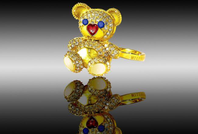 ring silver teddy bear milusi
